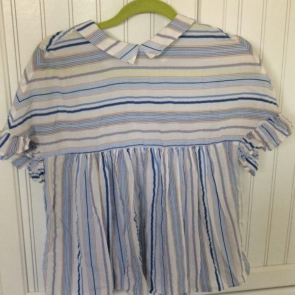 9f03f5c1 Zara blue and yellow striped peplum ruffle blouse.  M_5b7b0cff2aa96aca18625f27